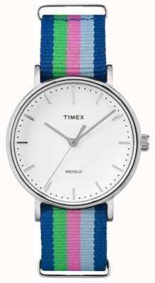 Timex Mesdames weekender fairfax bleu rose bracelet vert TW2P91700