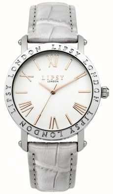 Lipsy Womens cas cadran blanc argenté bracelet gris LP454