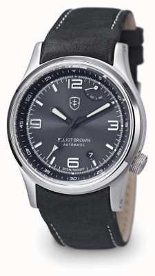 Elliot Brown Montre à écran tactile noir en cuir noir tyneham pour homme 305-D05-L15