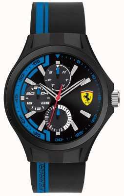 Scuderia Ferrari Équipement à trous pour hommes bracelet en caoutchouc noir cadran noir 0830368