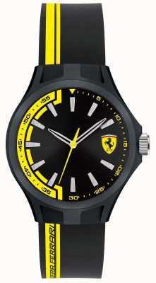 Scuderia Ferrari Hommes équipage corde en caoutchouc noir cadran noir caisse noire 0840012