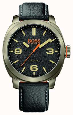 Hugo Boss Orange de Mens ville bracelet en cuir noir or cas de tonalité cadran noir 1513409