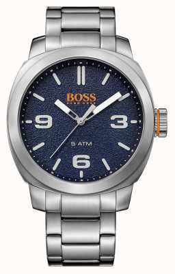 Hugo Boss Orange de Mens ville bracelet en acier inoxydable cadran bleu 1513419