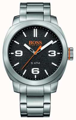 Hugo Boss Orange de Mens ville bracelet en acier inoxydable cadran noir 1513454