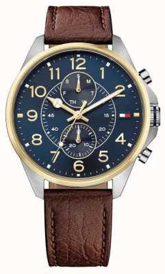 Tommy Hilfiger Bracelet en cuir marron homme dean bleu cadran bleu 1791275