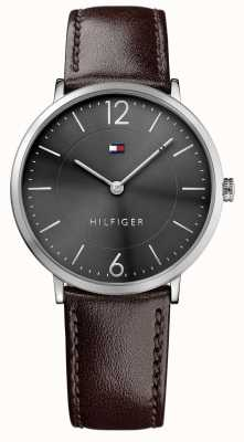 Tommy Hilfiger Mens james brown bracelet en cuir cadran noir 1710352