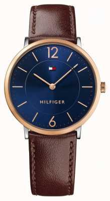 Tommy Hilfiger Mens james bracelet en cuir brun cadran bleu 1710354