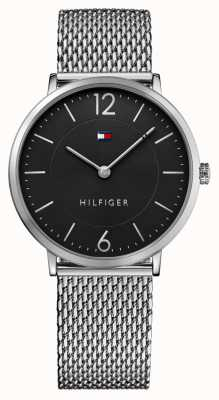 Tommy Hilfiger Mens james bracelet en acier inoxydable de maille cadran noir 1710355