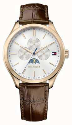 Tommy Hilfiger Mens oliver bracelet en cuir brun cadran blanc 1791306