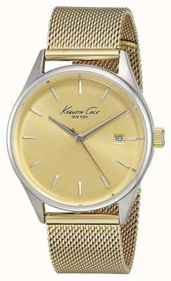 Kenneth Cole Womens ton or cadran en or de maille d'acier inoxydable KC10029401