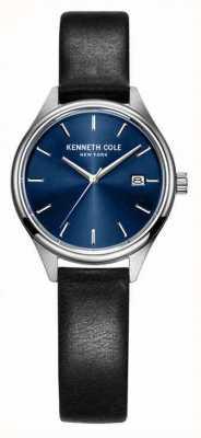 Kenneth Cole Bracelet cuir noir femme cadran bleu KC10030839
