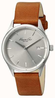 Kenneth Cole Bracelet cuir marron femme cadran argenté KC10026626
