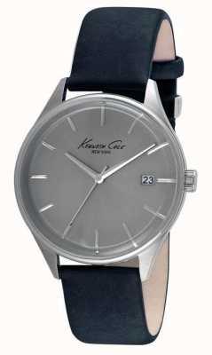 Kenneth Cole Bracelet en cuir noir pour hommes cadran gris KC10029304
