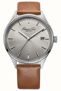 Kenneth Cole Bracelet en cuir marron pour homme cadran gris KC10029307