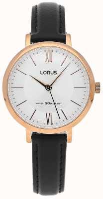 Lorus Womens cuir noir cadran bracelet en argent RG264LX9