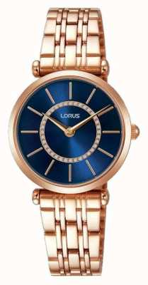 Lorus Womens rose ton or cadran bleu en acier inoxydable RRW98EX9