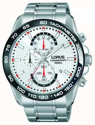 Lorus Bracelet en acier inoxydable chronographe Mens cadran blanc RM379CX9