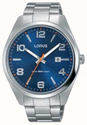 Lorus Mens cadran bleu bracelet en acier inoxydable RH961GX9