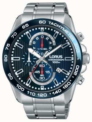 Lorus Mens chronogaph cadran bleu en acier inoxydable RM375CX9