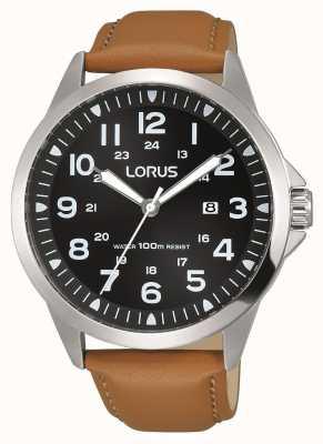 Lorus Mens bracelet en cuir brun cadran noir boîtier en acier inoxydable RH933GX9