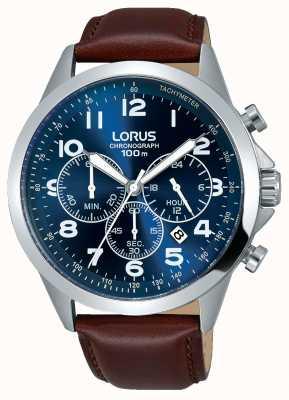 Lorus Mens cadran bleu brun bracelet en cuir RT379FX9