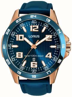 Lorus Bracelet en cuir bleu pour hommes cadran bleu RH908GX9