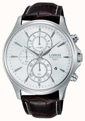 Lorus Mens bracelet en cuir brun cadran blanc RM315DX9