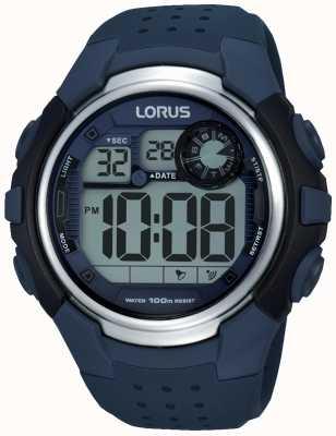 Lorus Mens alarme chronographe bracelet en caoutchouc bleu R2387KX9