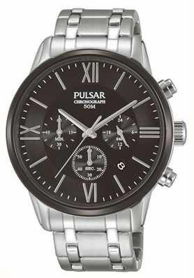Pulsar Hommes chronographe en acier inoxydable cadran noir PT3805X1