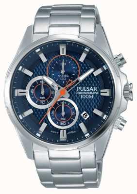 Pulsar Hommes chronographe cadran bleu en acier inoxydable PM3059X1