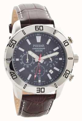 Pulsar Mens chronographe bracelet en cuir brun cadran noir PT3815X1