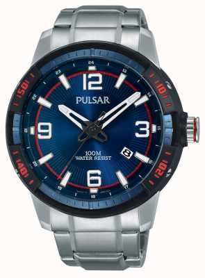 Pulsar Mens cadran bleu bracelet en acier inoxydable PS9477X1