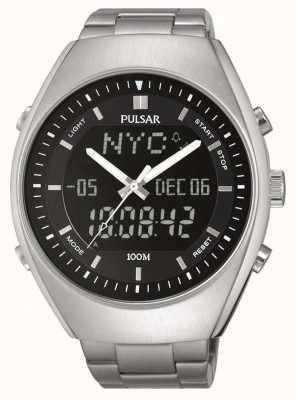 Pulsar alarme Mens en acier inoxydable cadran noir PZ4011X1