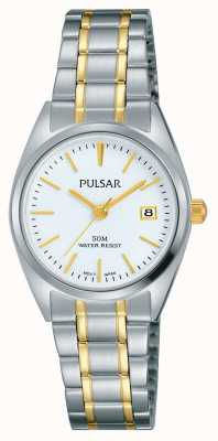 Pulsar Womens deux tons en acier inoxydable cadran blanc PH7441X1