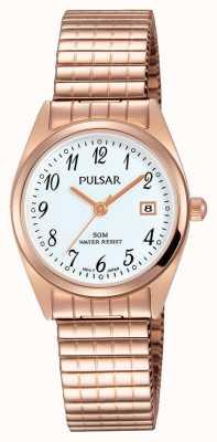 Pulsar Womens rose ton or en acier inoxydable cadran blanc PH7446X1