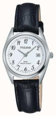 Pulsar Womens bracelet en cuir noir cadran blanc PH7447X1