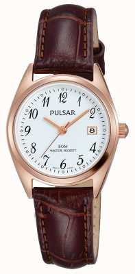 Pulsar Womens bracelet en cuir brun cadran blanc PH7448X1