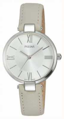 Pulsar Womens cuir taupe cadran bracelet en argent PH8245X1