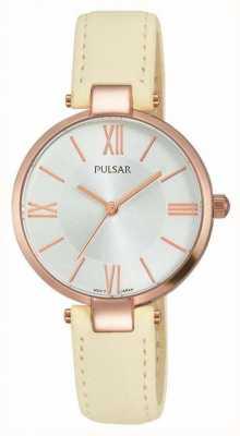 Pulsar Womens cuir crème cadran bracelet en argent PH8246X1