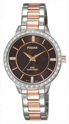 Pulsar Womens deux tons cadran bracelet brun en acier inoxydable PH8217X1