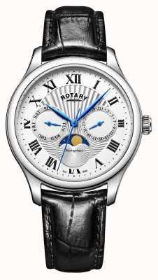 Rotary Mens moonphase cuir noir cadran bracelet en argent GS05065/01