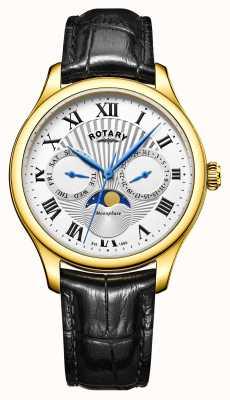 Rotary Mens Moonphase argent en cuir cadran noir or cas de tonalité GS05066/01