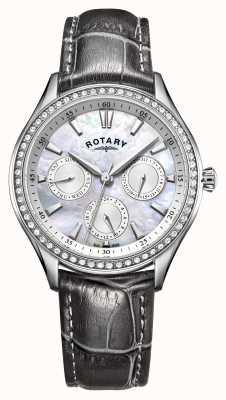 Rotary Womens hampstead bracelet en cuir gris nacre cadran LS05056/07