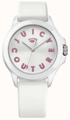 Juicy Couture Femmes fergie bracelet en caoutchouc blanc cadran blanc 1901464