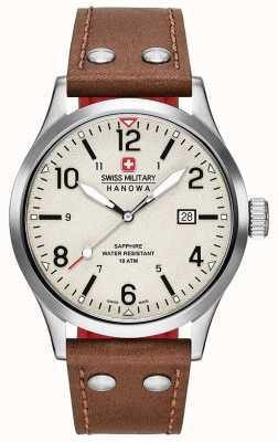 Swiss Military Hanowa Mens cadran crème de bracelet en cuir brun couvert 6-4280.04.002.05