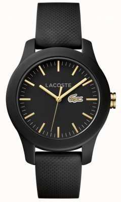 Lacoste Bracelet unisexe en caoutchouc noir 12.12 noir 2000959
