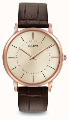 Bulova Mens ultra mince bracelet en cuir brun 97A126