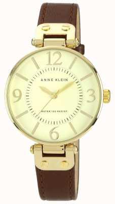 Anne Klein Bracelet cuir marron femme cadran doré 10/N9168IVBN