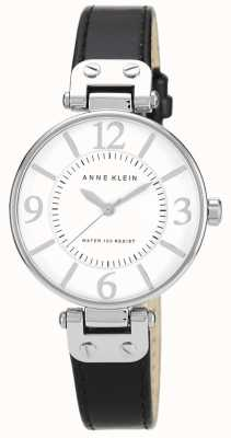 Anne Klein Bracelet en cuir noir pour femmes cadran blanc 10/N9169WTBK