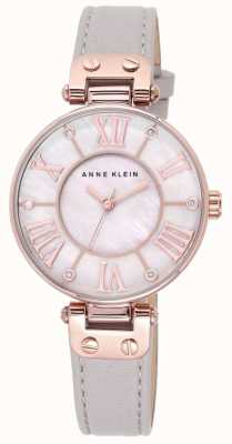 Anne Klein Bracelet en cuir gris femme cadran de perle 10/N9918RGTP